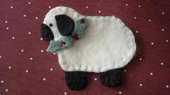 Primitive Christmas Sheep Ewe Felted Wool Felt By