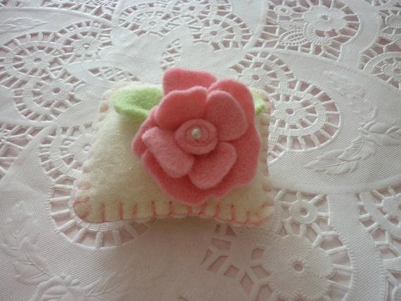 Wool Felt Pincushion Pink Rosette  Mini Pillow