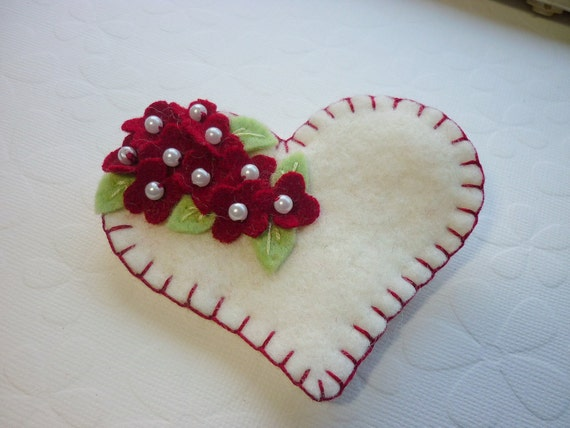 Felt Heart Brooch Beaded Red Flowers Valentine