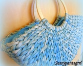 Vintage 1960s ADORABLE Blue Straw Woven Basket Purse -- Boat Shaped -- Rockabilly