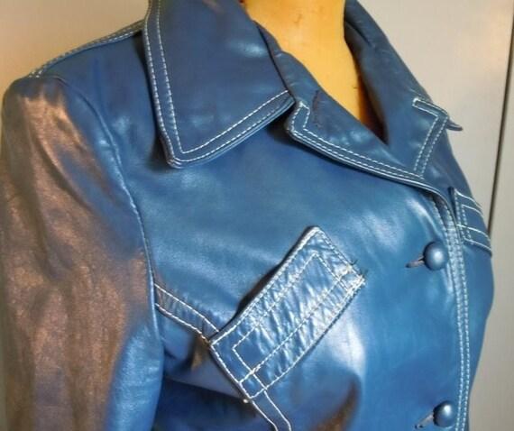 On Sale -- 1960's Ladie Blue Leather MOD Coat Jacket - Size m/l