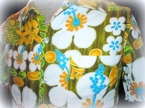 Vintage 1960s MENS TIKI Hawaiian Barkcloth Shirt -- Size M -- Viva Las Vegas Rockabilly -- Tiki Party