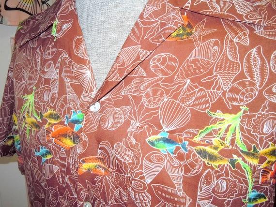 Vintage GUYS Abstract Tiki Hawaiian SHELL Print Shirt -- Tiki Oasis -- Tiki Cocktail Time