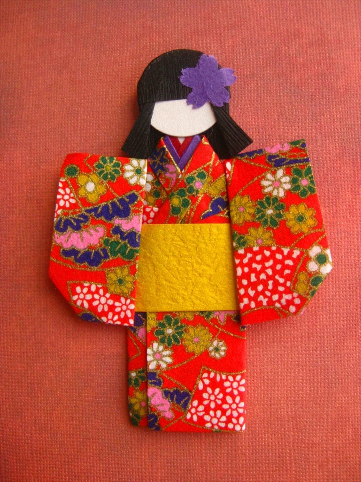Japanese origami paper doll Eriko - photo#12