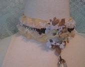 Lace Necklace Vintage Lace Trim Lace Flowers Taffeta Ribbon Bead Dangle Choker