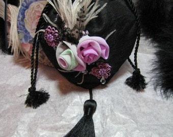 Vintage Lace Applique Beaded Silk Floral Handbag Purse
