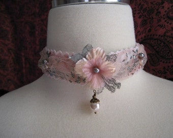 Vintage Floral Ribbon and Lace with Pearls Necklace Choker (Made To Order)