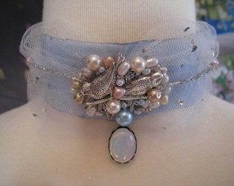 Marie Antoinette's Bluebird in Pearls Necklace Choker (Made To Order)