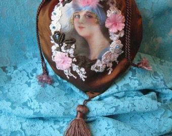 Vintage Lace and Florals Flapper Girl Portrait Silk Handbag