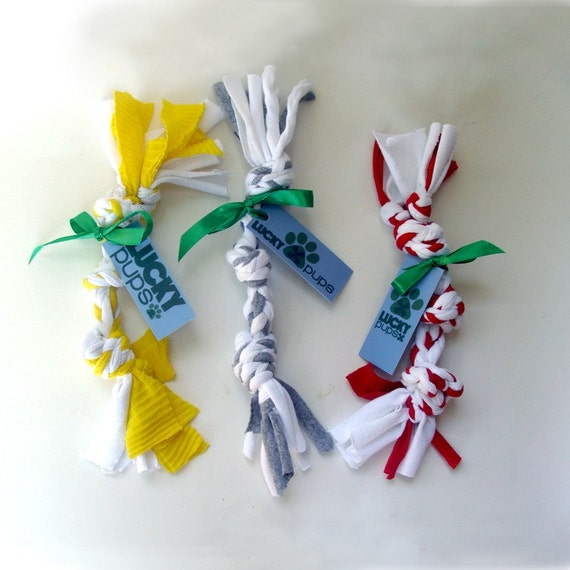 3 Upcycled Dog Toys - Eco Friendly - Chew, Tug, Toss, and Play - Ships Free with Another Purchase