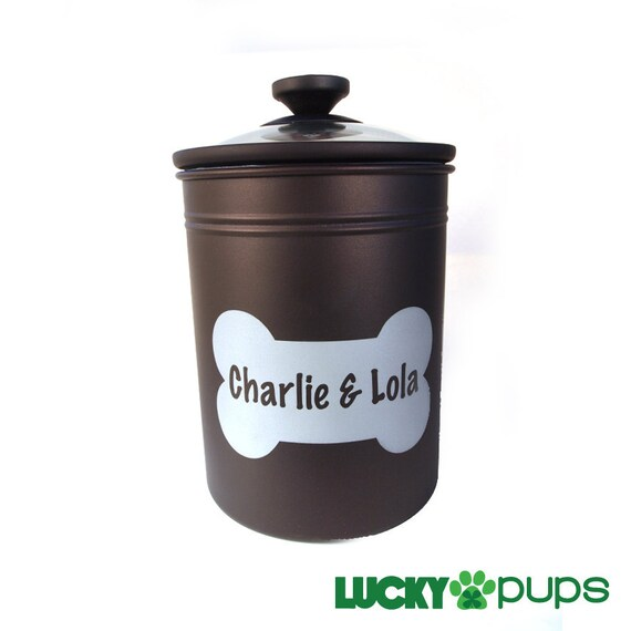 10.5 in - Personalized Dog Treat Jar with Name in Bone - Bronze