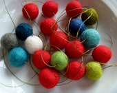 Holly Jolly Garland felt ball garland  in red and holiday colors - blues greens red white - christmas decor -