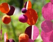 Pink Orange Burgundy Suncatcher garland -  longer strand of felt balls and Lokta paper - orange pink purple burgundy -