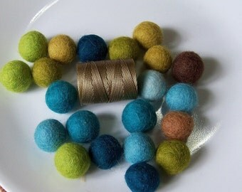 Beach Garland -- a strand of  blues and greens  --  21  felt balls, about 6.5 ft long