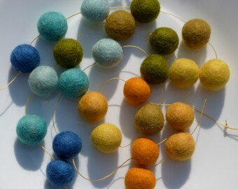 Tuscany Garland - felt ball garland in blues, yellows -  about 3.5 feet long, 25 felt balls - summer cottage decor