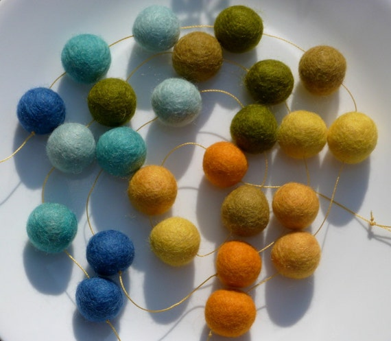 Tuscany Garland - felt ball garland in blues, yellows -  about 3.5 feet long, 25 felt balls - summer cottage decor