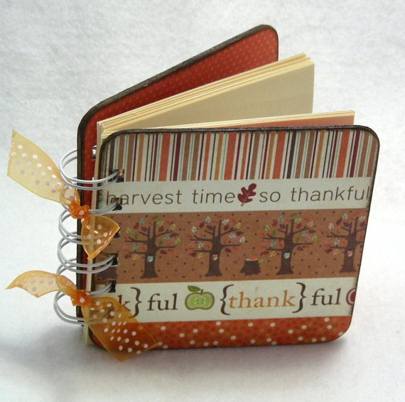 Gratitude book, spiral bound, Thanksgiving table, count your blessings, 100 pages, orange, brown,