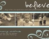 Believe Custom Photo Christmas Card