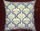 Bright Green and Chocolate Brown Damask Print Fabric Pillow