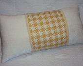 Golden Yellow Cream Houndstooth Check Lumbar Pillow - CLEARANCE