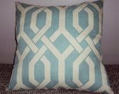 14x14 Mod Designer Lattice Fabric Pillow Cover In Robin Egg Blue - Free Shipping