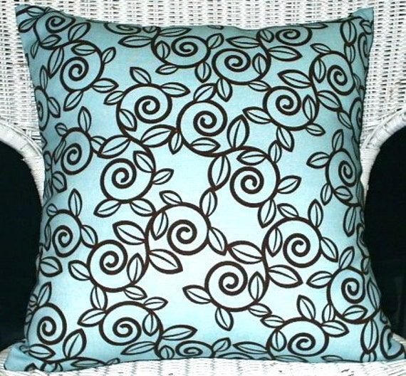 Blue and Brown Trellis Leaf Print Fabric Throw Pillow