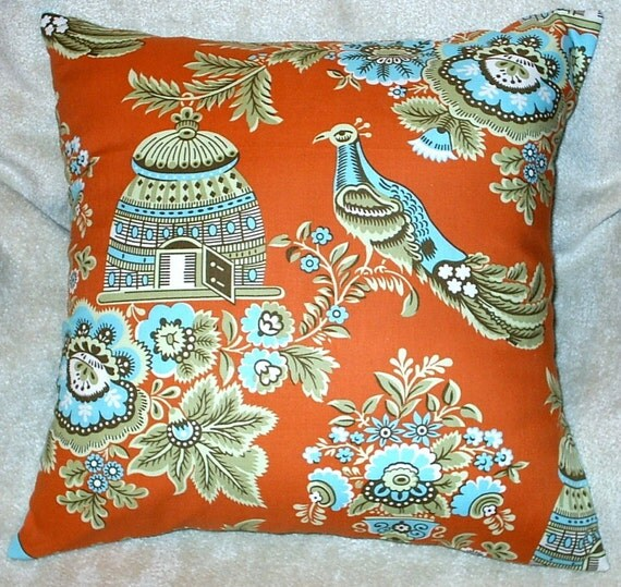 Amy Butler Bird Print Royal Garden Fabric Throw Pillow