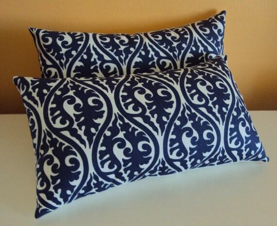 2 Navy Blue And White Damask Print Scroll Fabric Lumbar