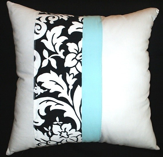 Aqua Black And White Damask Print Fabric Throw Pillow