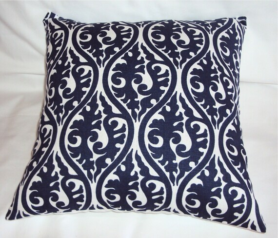 Mod Navy Blue and White Damask Print Fabric Pillow