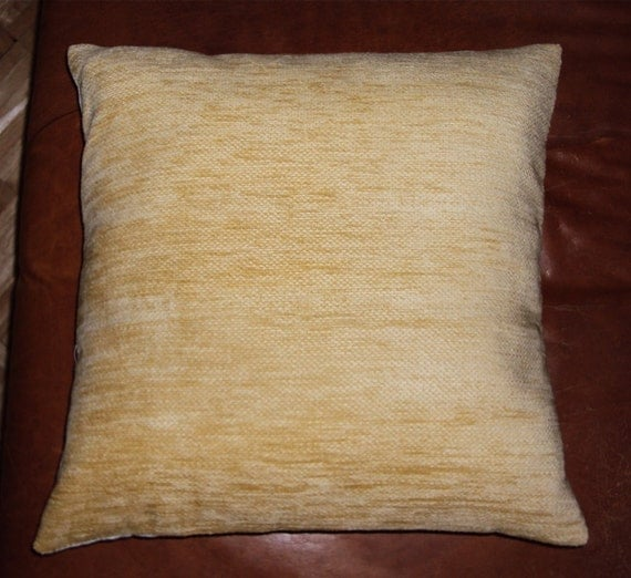 Buttery soft yellow chenille fabric throw pillow by idari - Fabric for throw pillows ...