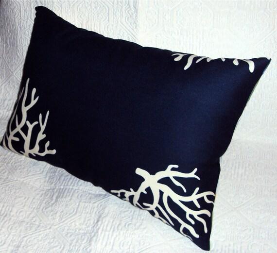 Navy Blue Indoor Outdoor Coral Print Fabric Mini Lumbar Pillow