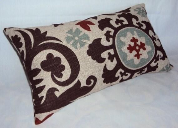 Mod Brown Red and Spa Blue Suzani Fabric Lumbar Pillow