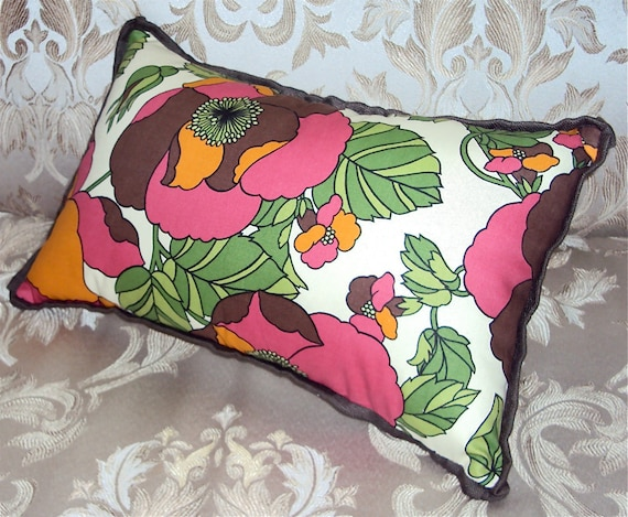 CLEARANCE - Mod Pink Orange and Brown Floral Lumbar Pillow