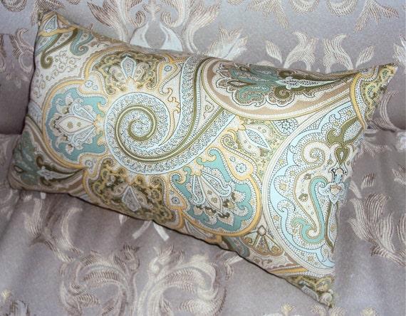 Mod Green Blue Designer Paisley Lumbar Pillow