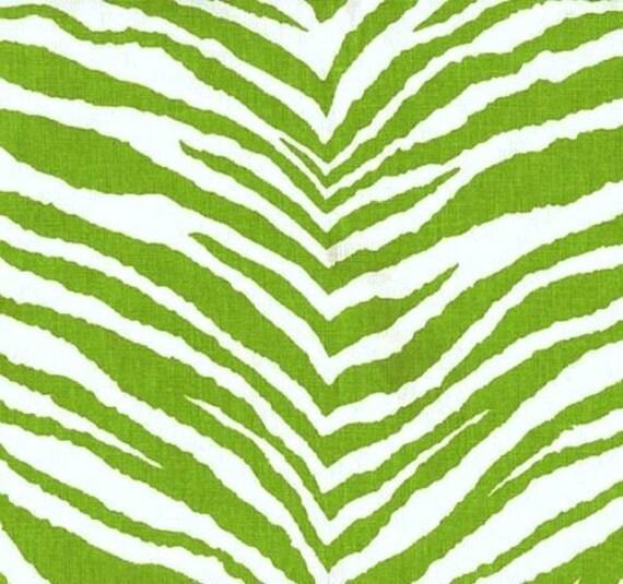 Green And White Tunisia Zebra Animal Print Fabric Throw Pillow