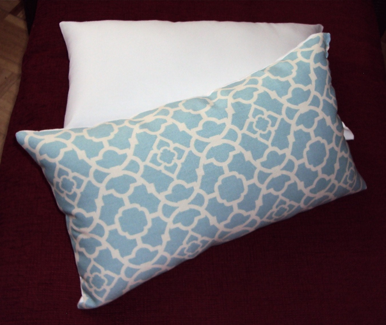 Light Blue Waverly Lattice Indoor Outdoor Lumbar Pillow