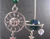 Earth, Moon and Sun Planet Earrings with Azurite in Sterling Silver and Swarovski Crystal