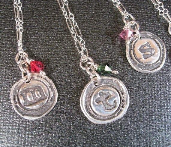 Typewriter Style Initial Necklace Personalized in Fine Silver  Graduation, Mom , Bridesmaid Gift, Teen Gift