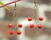 Earrings red contemporary glass corals