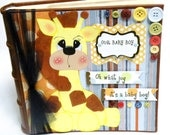 Large Baby Boy Scrapbook Album - 9x9 - Holds 200 4x6 Photos - G I R A F F E - Baby Shower Gift - Navy Yellow Brown Blue