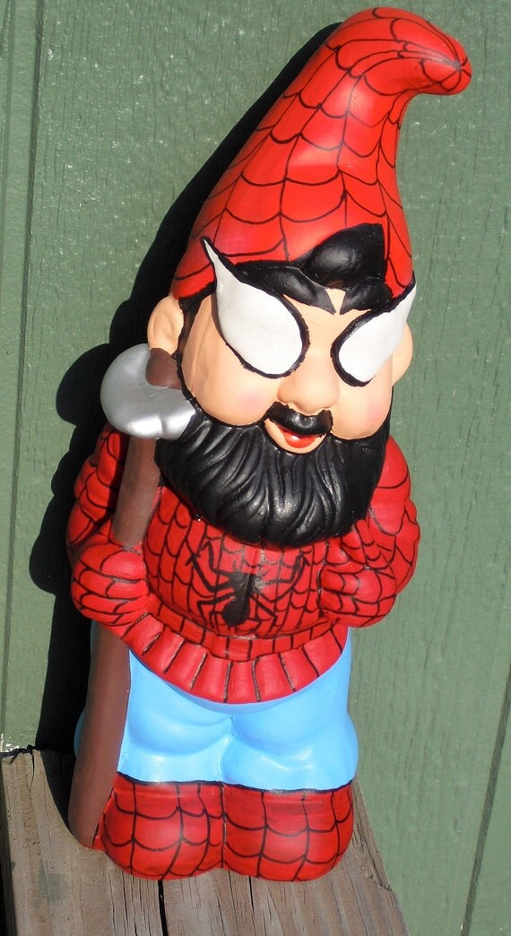 Ceramic SpiderGnome is Back. This Time With a Hoe. Not Your Typical Garden Variety Gnome.