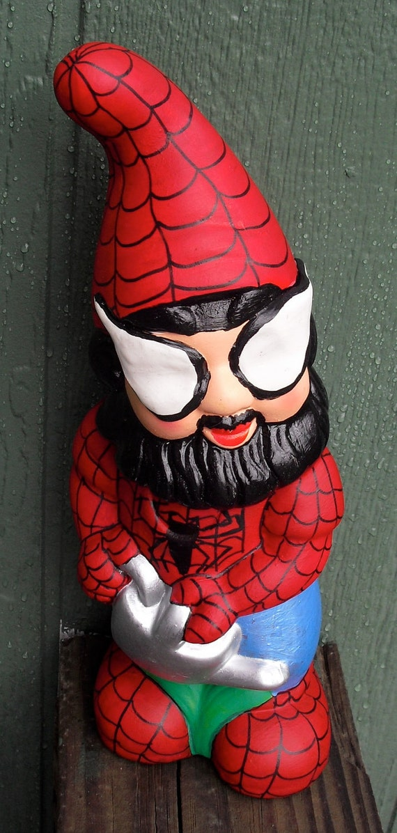 Ceramic SpiderGnome Wants to Water Your Flowers. Not Your Typical Garden Variety Gnome.