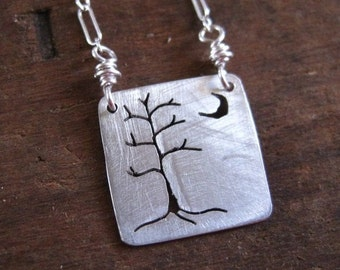 mini tree moon necklace