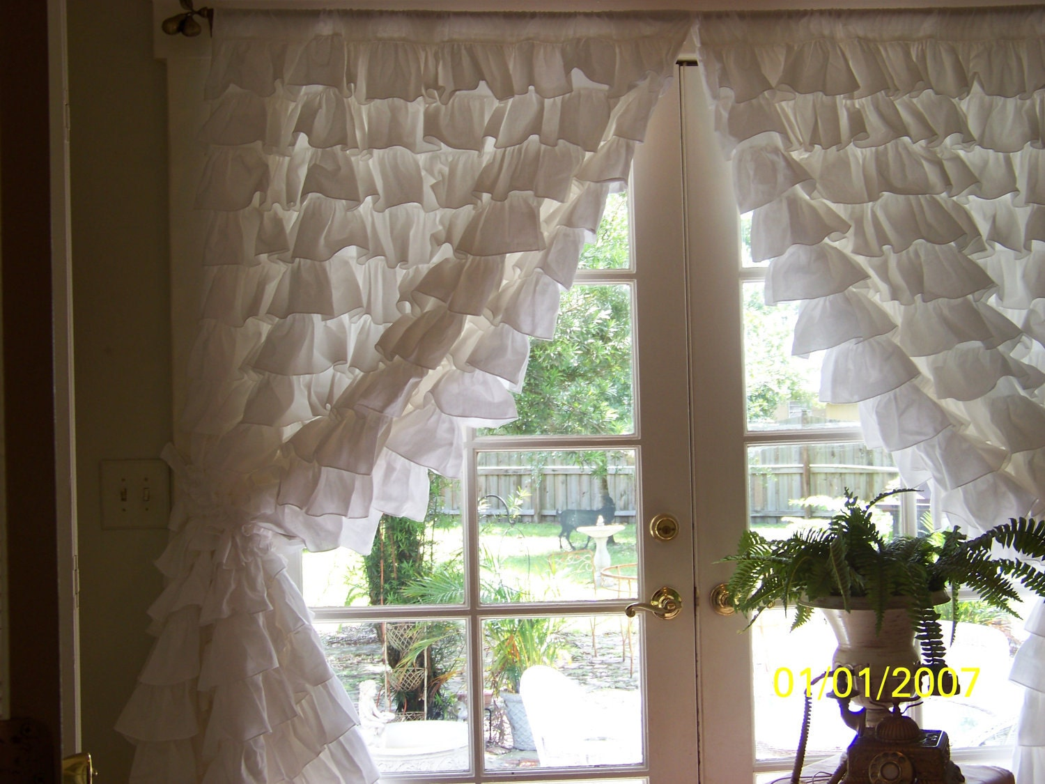 Pair Of Romantic Snow White Ruffled Curtains By