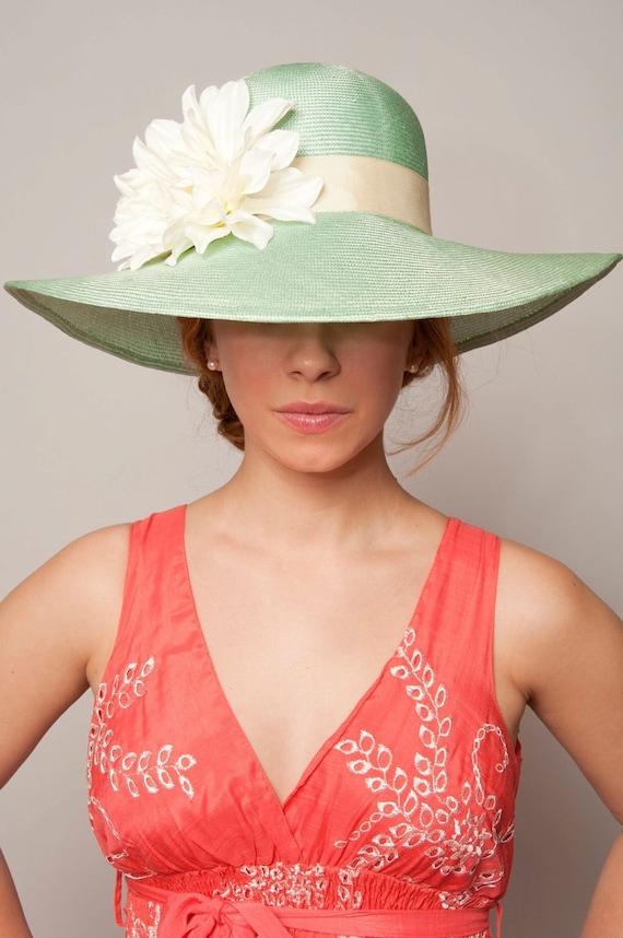 Sun Hat - Mint straw with cream flowers - Ladies Designer Hat