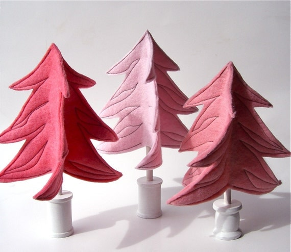 Felt evergreen trees...