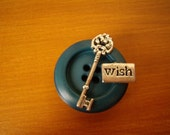 Vintage Button Key Wish Charm magnet