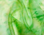 Green hand painted silk scarf 13 X 51.