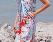 Hand Painted Silk Cotton Sarong With Coral Reef  Scarf  in Blue Red Colors 37 X 54 Colorfull Beach Holidays